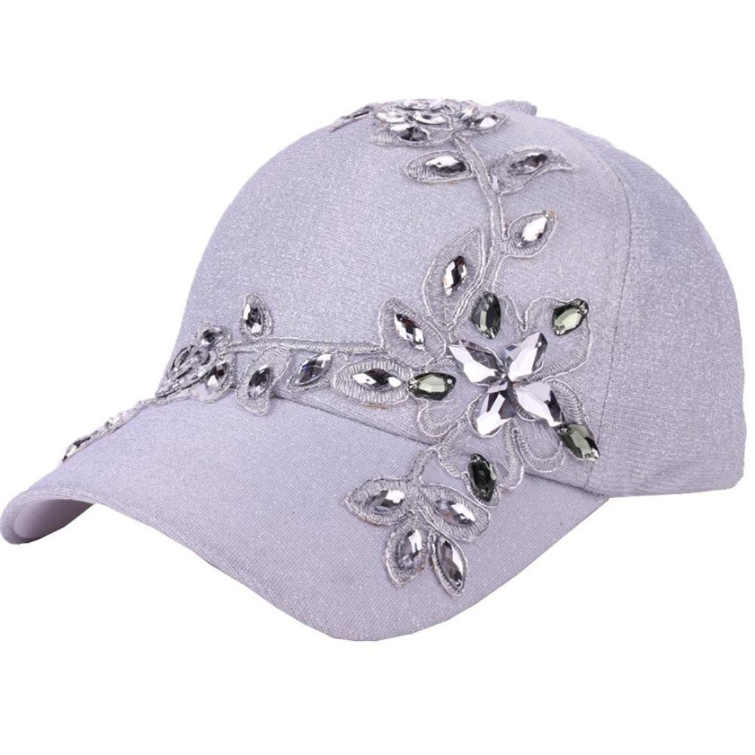 2e48d79e069 Amazon.com  Bling Rhinestone Lace Flower Baseball Hats for Women Girls