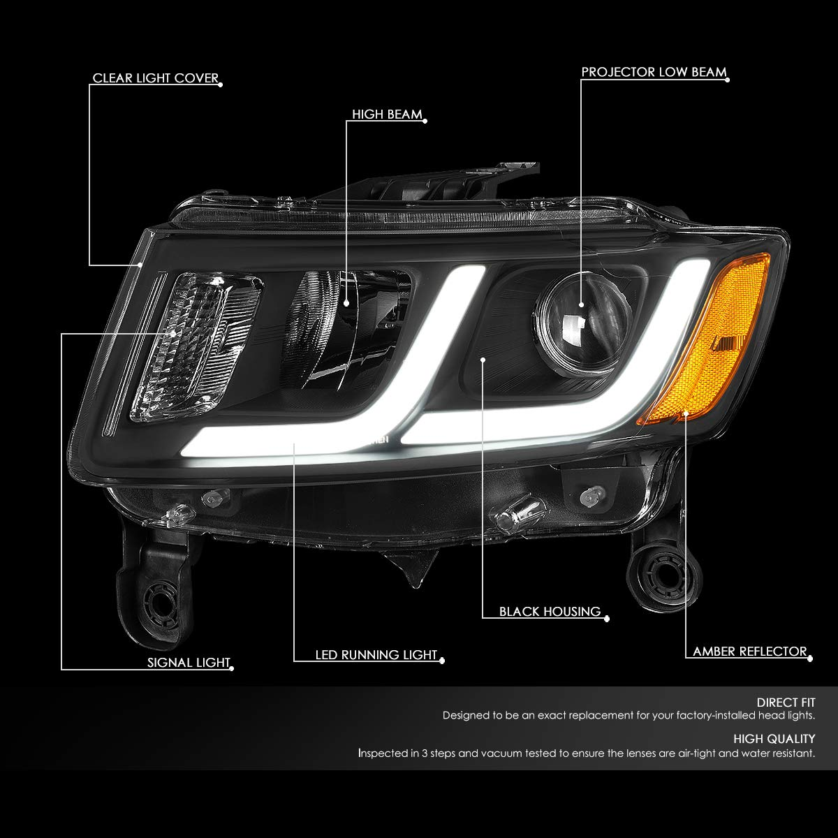 For 14-16 Jeep Grand Cherokee DNA Motoring HL-HPL-JGC14-BK-AM Pair LED DRL Projector Headlight