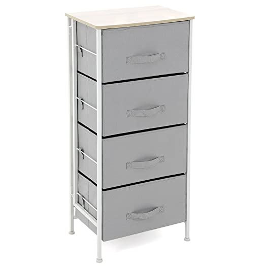 songmics 4 drawers bedside cabinet chest of drawer with metal frame storage unit for bathroom