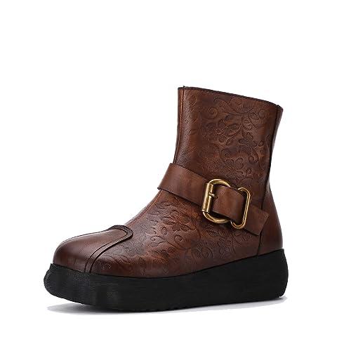 Botas con Cremallera de Plataforma de Cuero Genuino de Mujer Vintage Botines de cuña Estampados Estilo étnico Zapatos Planos cómodos Hechos a Mano: ...