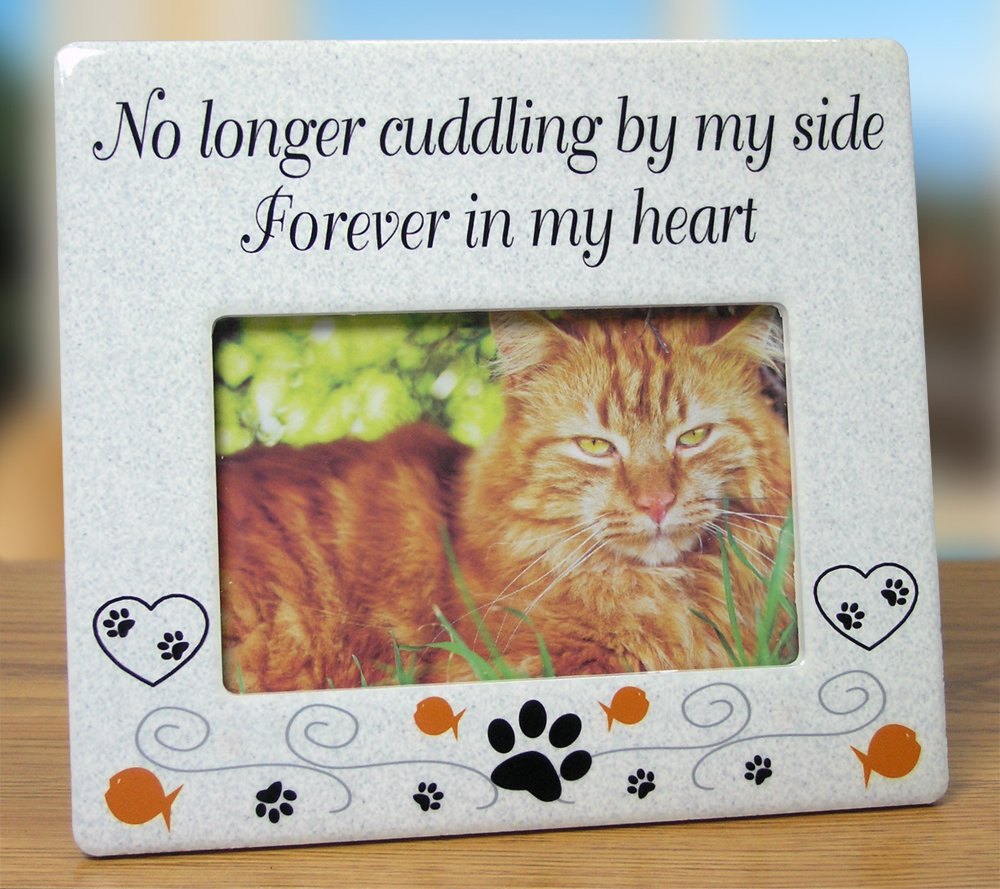 Cat Memorial Ceramic Picture Frame - No Longer Cuddling By My Side ...