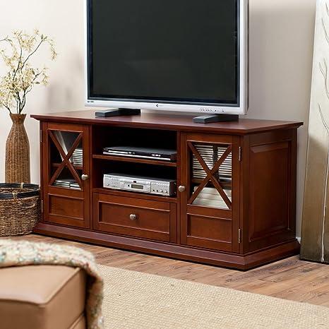 Amazon Com Belham Living Hampton Tv Stand Cherry Home Audio