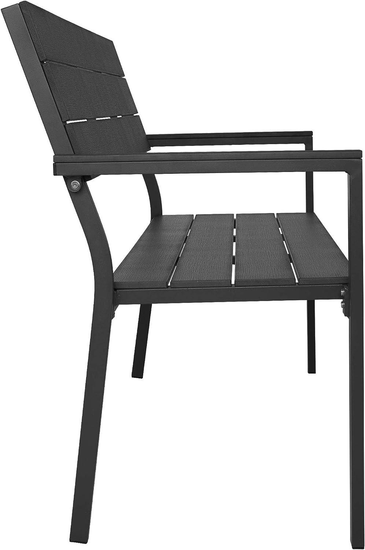 2 Seaters Terrace Park Balcony Dark Grey Aluminium TecTake 800796 Garden Bench Seat Backrest /& Armrest Outdoor Furniture Robust Construction