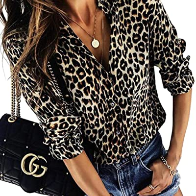 Adibosy Women's Leopard Print Top Tunic Casual V Neck Blouse Long Sleeve Button Down Shirt Tops at Amazon Women's Clothing store