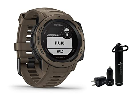 Garmin Instinct Rugged GPS Watch and Wearable4U Ultimate Power Pack Bundle (Tactical Coyote Tan)