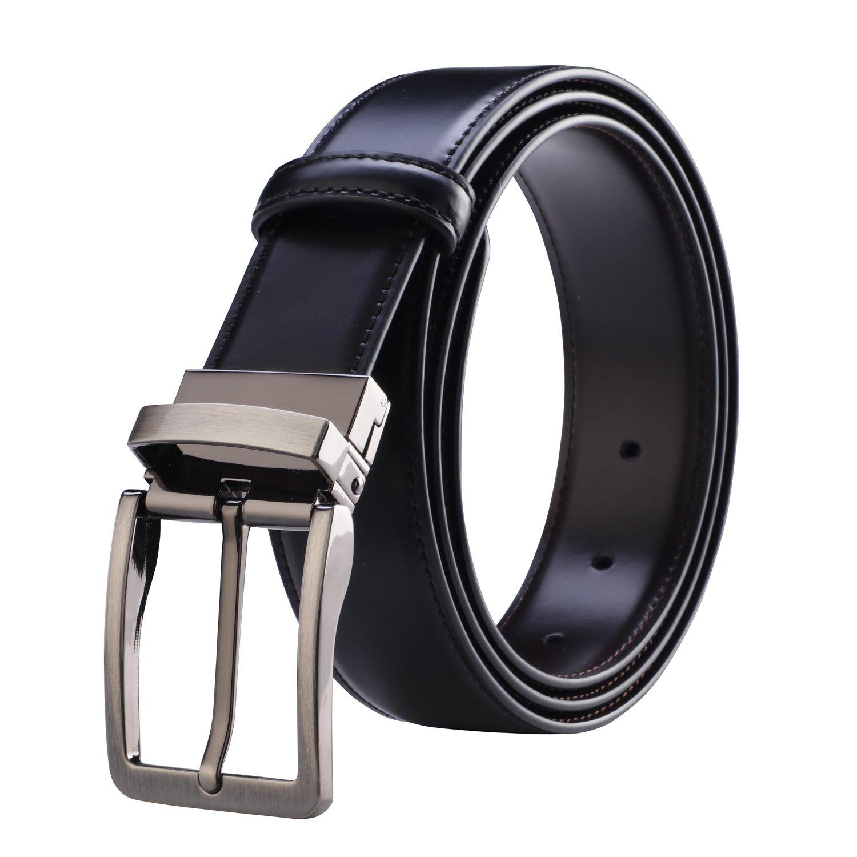 Amazon.com: Cinturón de piel reversible cinturón de piel de ...