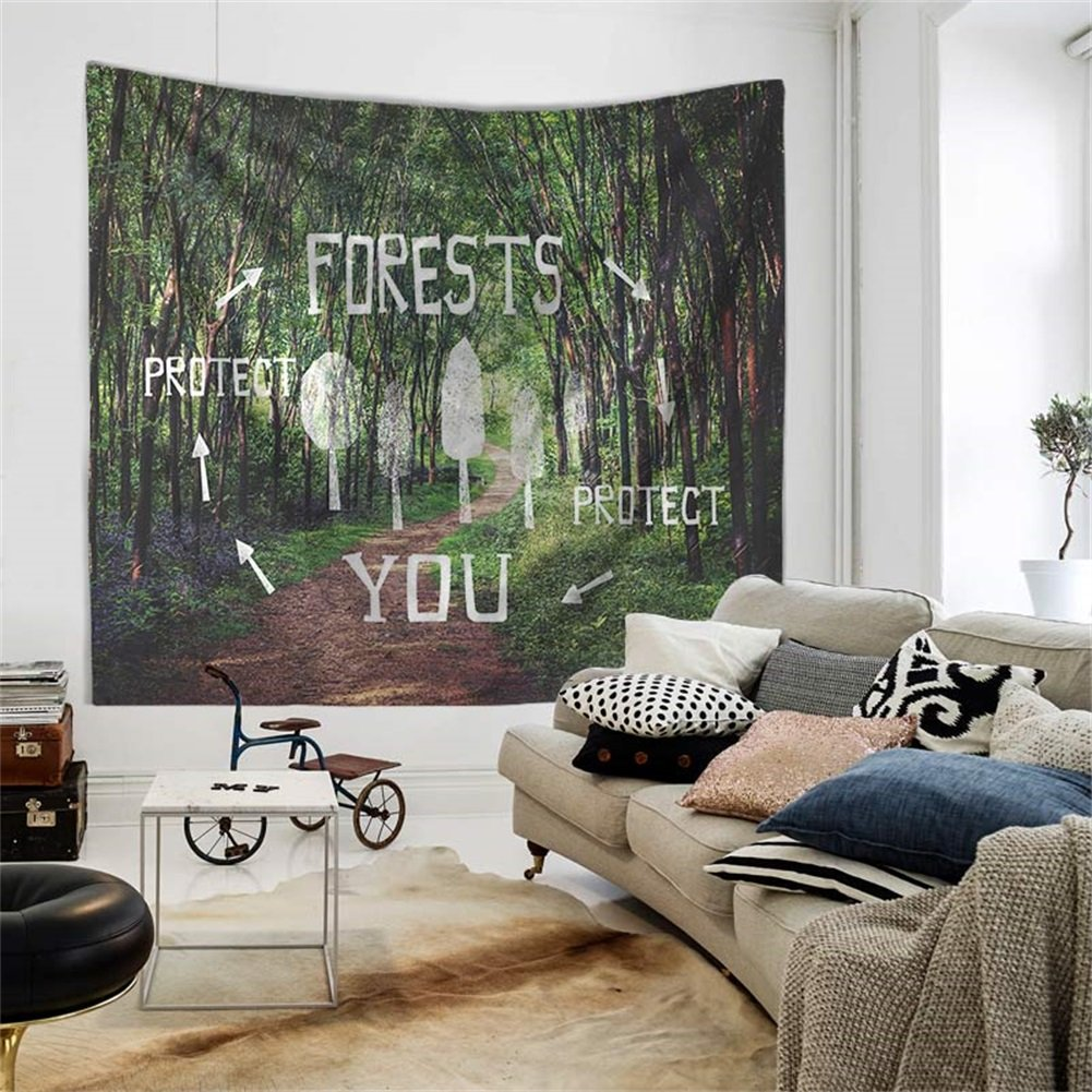 QEES Nature Tapestry Mystical Forest Misty Wall Hanging GT14 Mountain and Tree with Grey Fog Soft Bedroom Decoration for Home Decorations ZhuoLang