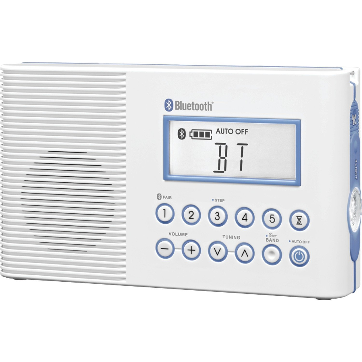 Sangean Bluetooth AM/FM Weather Band Emergency Waterproof Shower Clock Radio With Large easy to read LCD Display