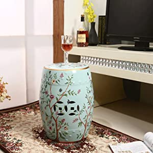 XCCX Indoor Patio Ceramic Stool, Flower and Bird Pattern Glazed Craft, Easy to Clean New Chinese Style Living Room Porcelain Furniture, Max Load-Bearing 240 Lbs(Color:B)