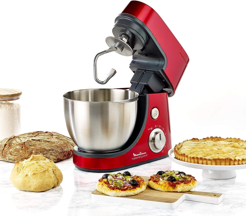 Moulinex Masterchef Gourmet QA502G - Robot Amasador 900 W, con batidora 1,5L, Bol de Acero Inoxidable 4,6L, bate, Corta, ralla, emulsiona y amasa, 6 velocidades, Kit de pastelería, y libro de recetas: