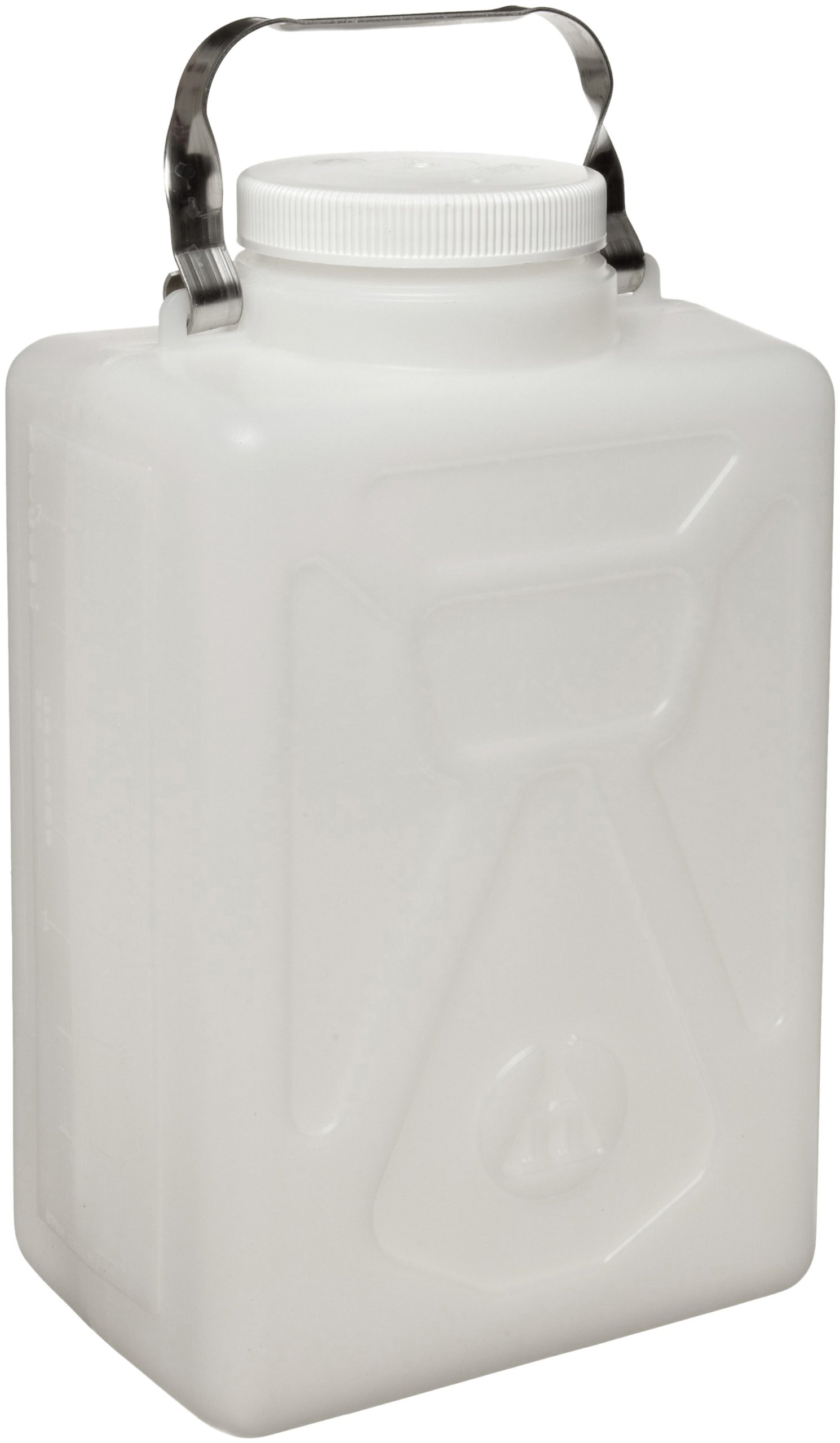 Nalgene 2211-0020 HDPE Graduated Carboy with Stainless Steel Handle and Polypropylene Screw Closure, Rectangular, 9L Capacity, 8-1/2'' Length x 5-3/4'' Width x 13-1/2'' Height