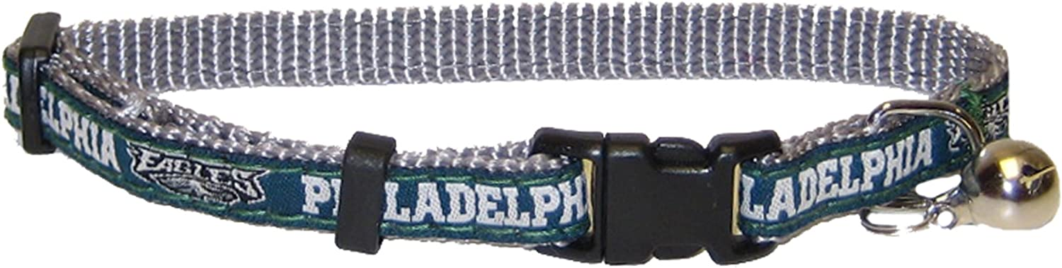 COLLAR for CATS - NFL PHILADELPHIA EAGLES CAT COLLAR. - Strong & Adjustable FOOTBALL Cat Collars with Metal Jingle Bell