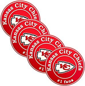 Topfans 4PCS Fit Kansas City Chiefs Silicone Coasters, Placemats, Wine Coasters, Non-Slip Heat Insulation,Fan Attributes,A Better Gift (3.9in)