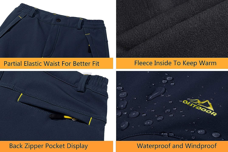 EKLENTSON Mens Waterproof Softshell Fleece Lined Outdoor Walking Trousers Warm Thicken Hiking Ski Pants with Zip Pockets