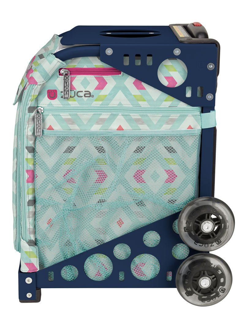 Zuca Chevron Sport Insert Bag and Navy Blue Frame with Flashing Wheels by ZUCA (Image #3)