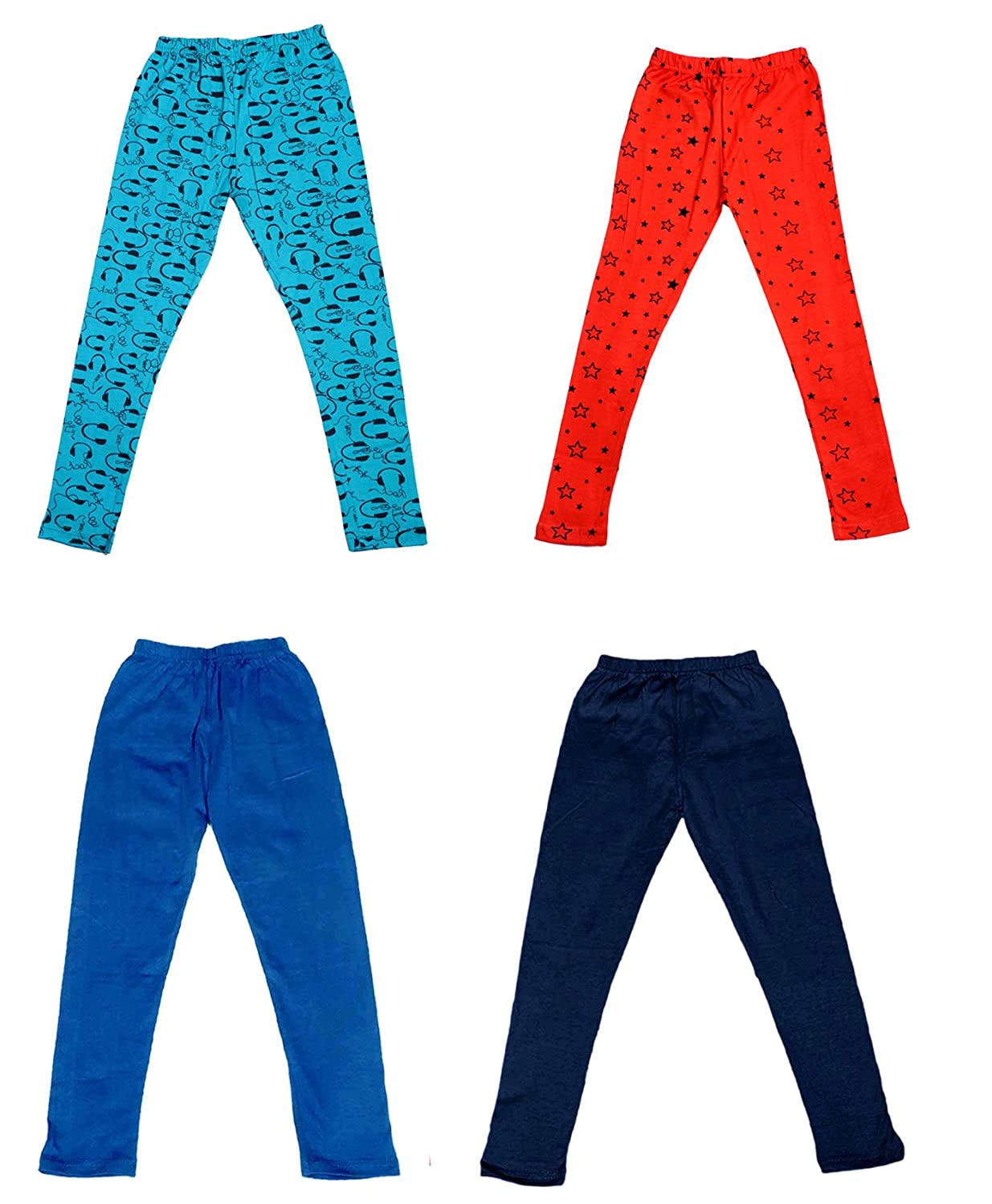 Pack Of 4 Indistar Girls 2 Cotton Solid Legging Pants /_Multicolor/_Size-9-10 Years/_71409101617-IW-P4-32 and 2 Cotton Printed Legging Pants