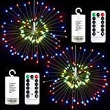 CREATIVE DESIGN 2 Pack 120LED Fairy String Lights, Waterproof Battery Operated Dimmable Christmas Lights Twinkle Lights with Remote Control, 8 Modes Starry Wire Light for Outdoor Indoor Decor