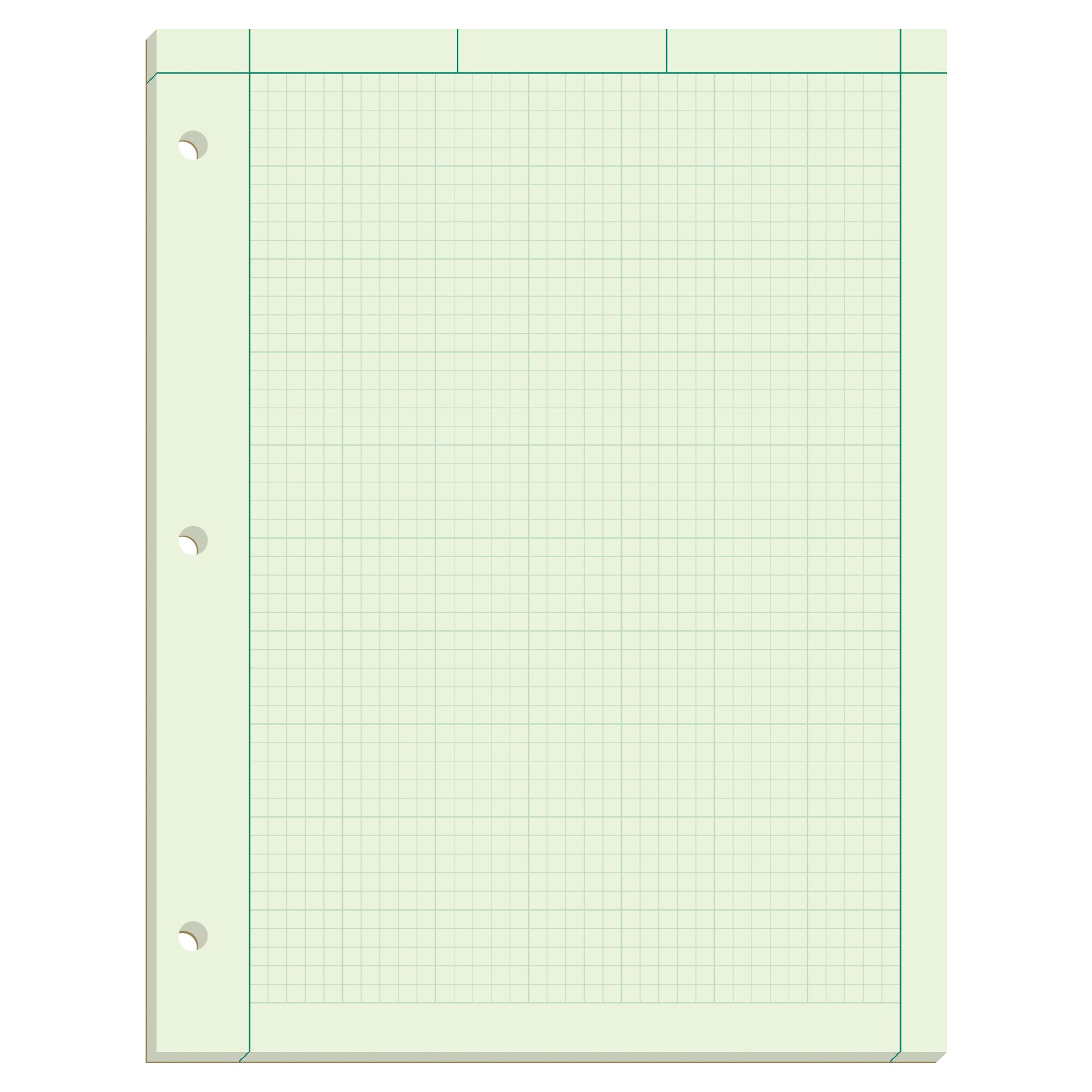 Ampad 42-142 Computation Pad, Greentint Paper, 8.5 x 11, 5 x 5 Rule, 3-Hole Punched, 100-Sheets, 1-Each