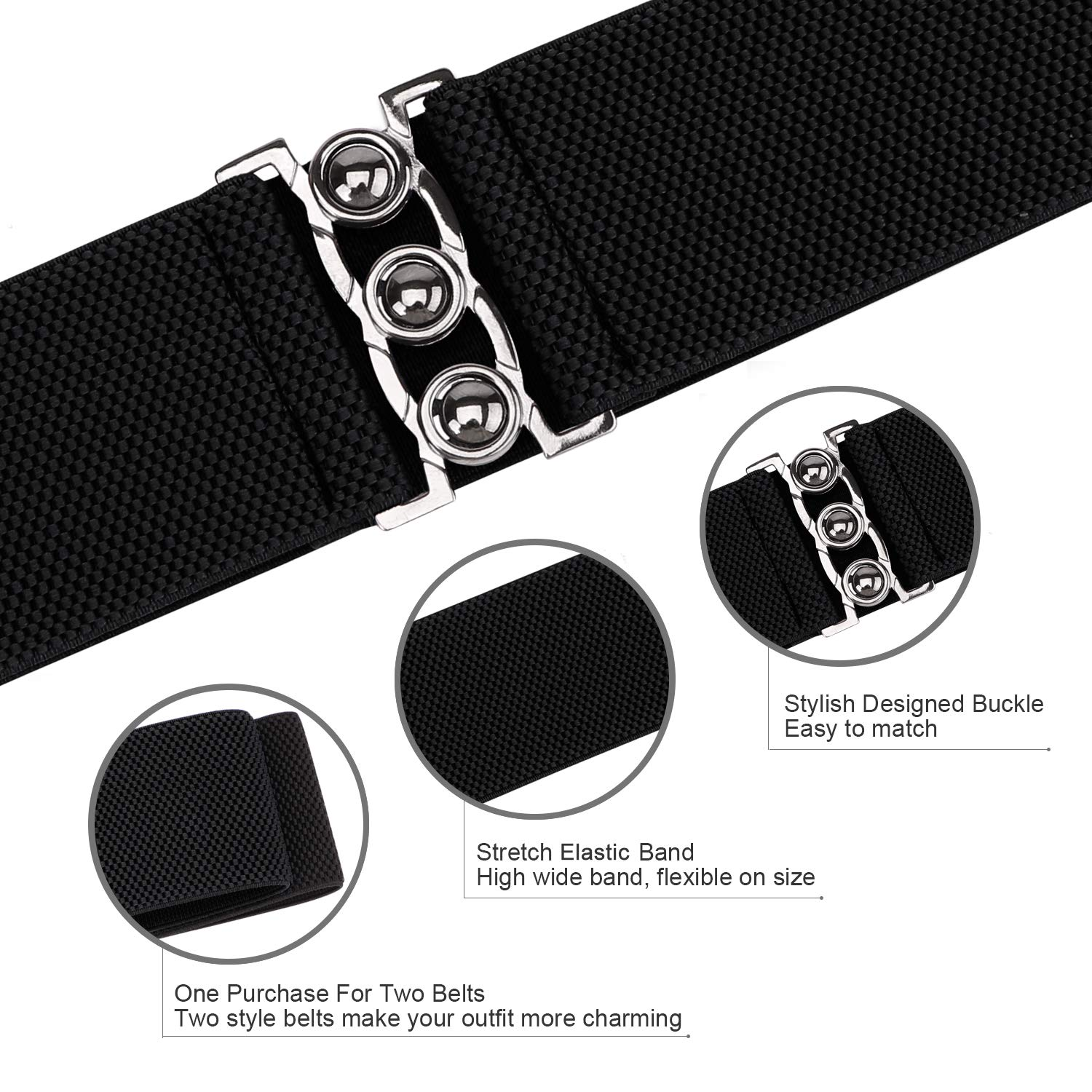 a4eb6716461 JASGOOD Vintage Wide Elastic Waist Belt Waistband Dress Stretchy Cinch Belt  For Women 1.8 Inch Wide at Amazon Women s Clothing store