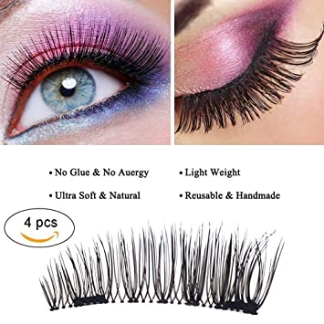 0f716afbdf7 Amazon.com : Magnet False Eyelashes, 4 Pieces 3 Second Magnetic Eye Lashes  for Women Makeup Natural Look No Glue Required : Beauty