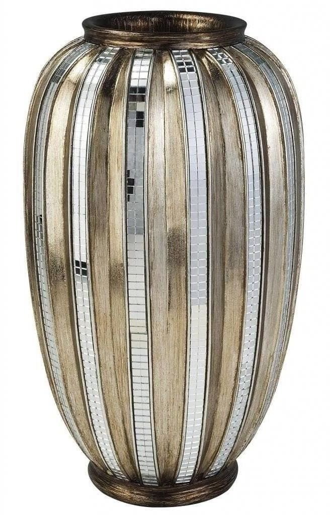 Lana45 Silver/Gold Metallic Vase Tiles Decorative Vase Elegance Decor