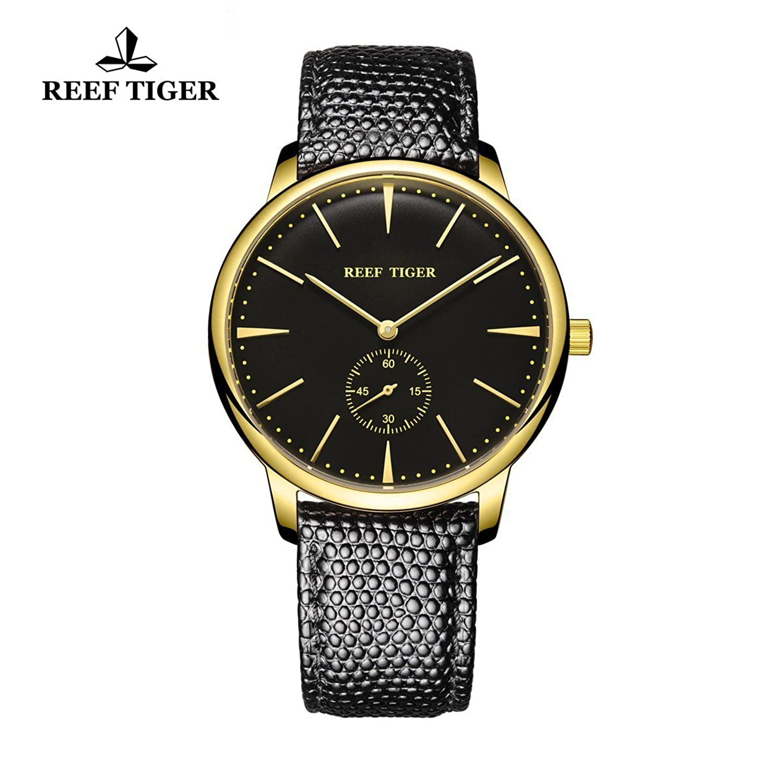 Reef Tiger Paar Uhren fÜr MÄnner Ultra DÜnn Gelb Gold Zifferblatt schwarz Lederband Armbanduhr rga820