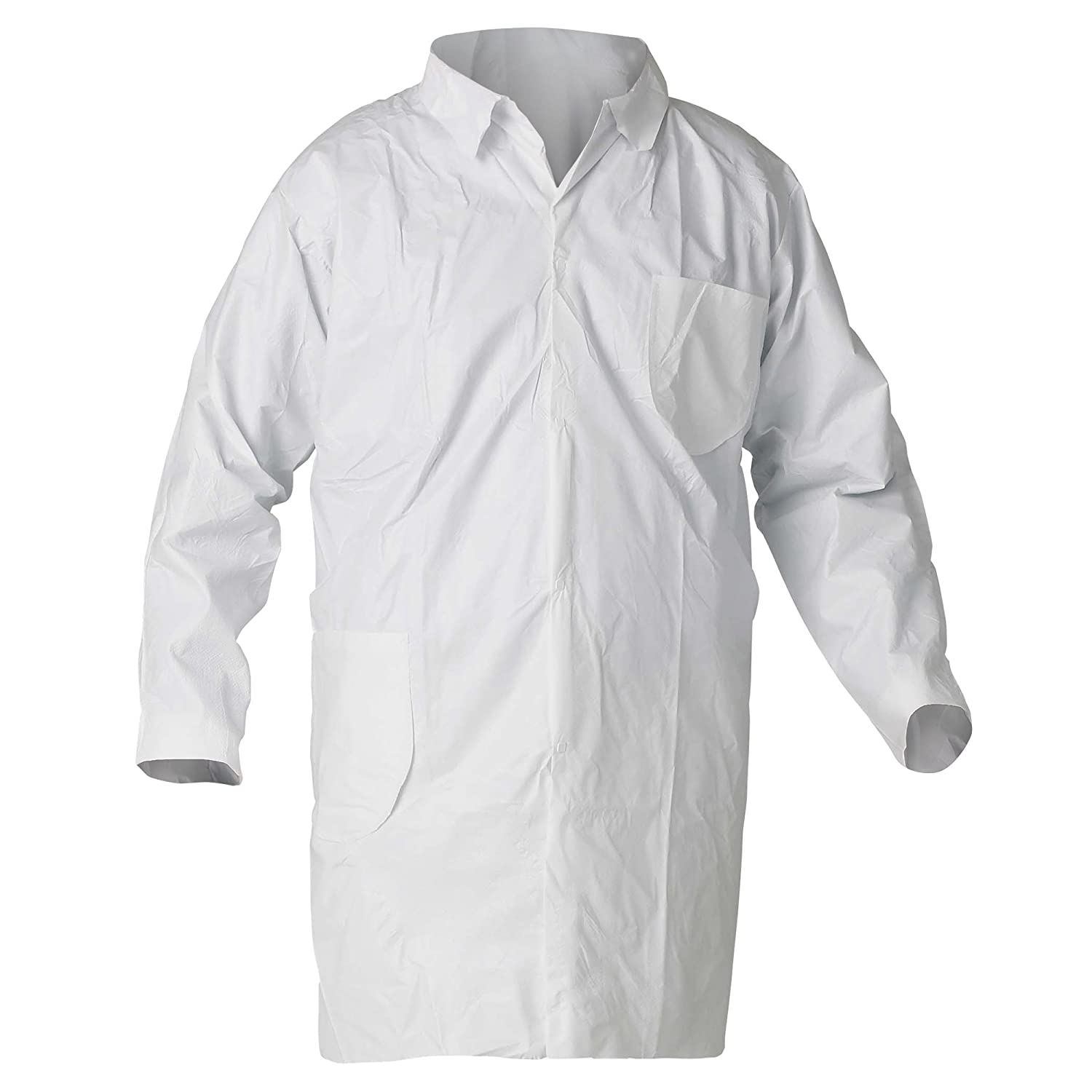 Kleenguard A40 Liquid & Particle Protection Lab Coats (44454), 4-Snap Closure, Knee Length, Open Wrists, White, XL, 30 / Case: Industrial & Scientific