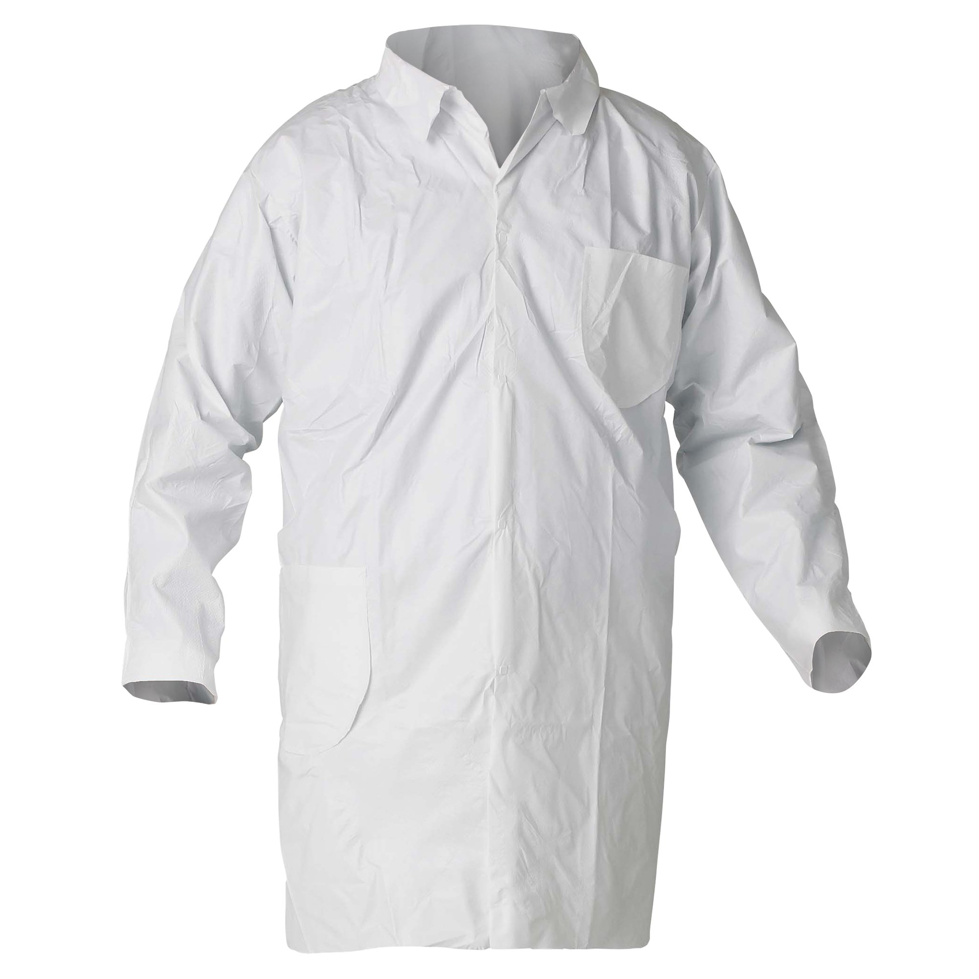 Kleenguard A40 Liquid & Particle Protection Lab Coats (44453), 4-Snap Closure, Knee Length, Open Wrists, White, Large, 30 / Case