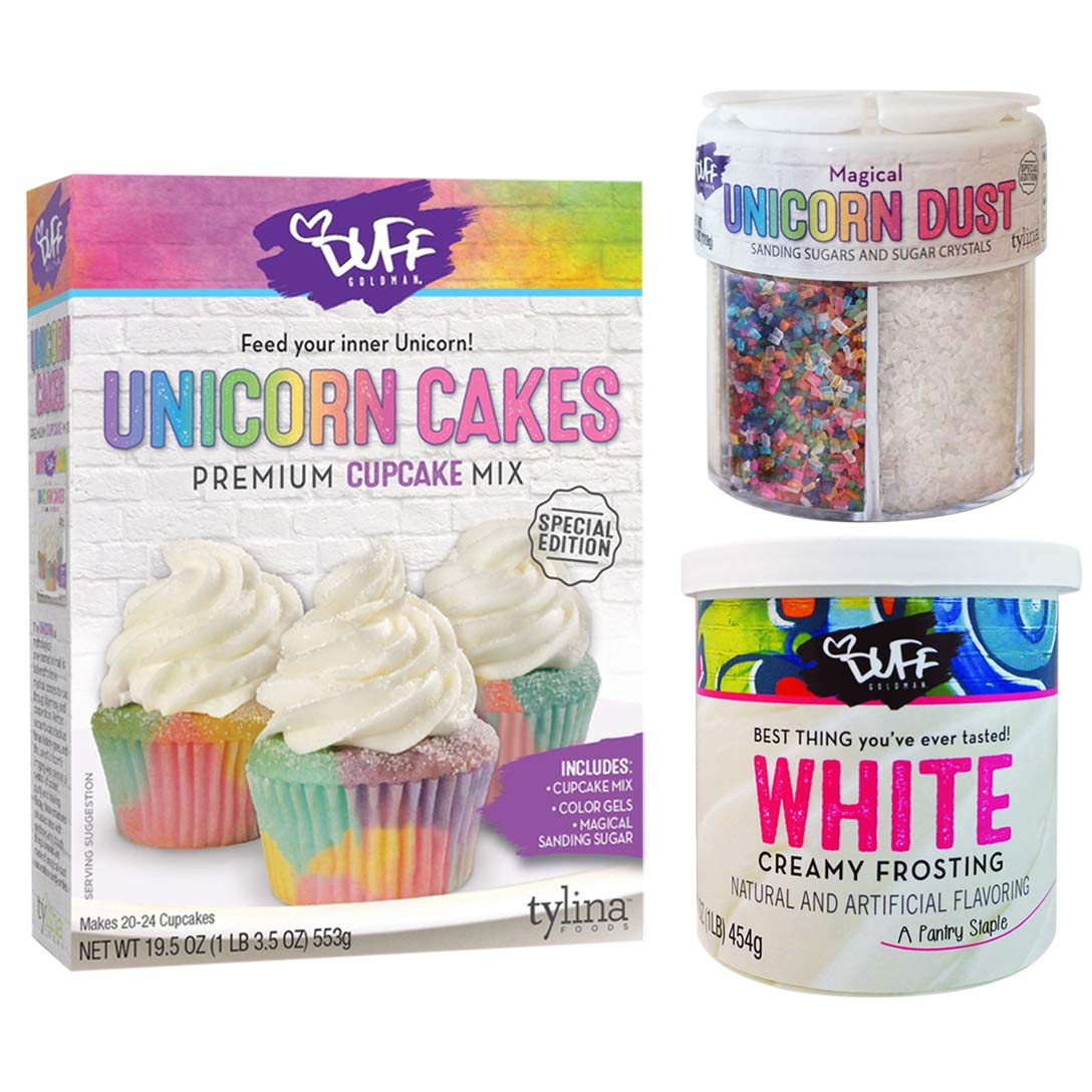 Unicorn Cupcake Baking Mix Set with Ready Frosting and Unicorn Dust Sprinkles by Corner Merchant