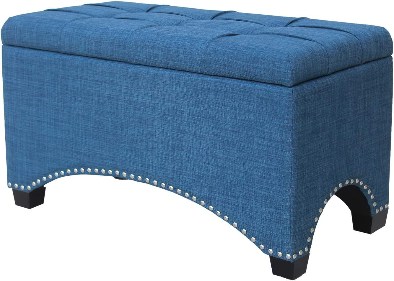 Nost & Host Ottoman Bench with Storage 30 Inches, Denim Blue Fabric Rectangular Ottoman with Hinged Lid, Indoor Cocktail Ottoman Rectangle Bench with Button Tufted Top Foot Rest Stool