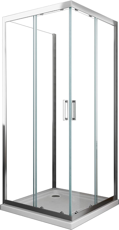 Cabina de ducha de 3 lados Cristal Fijo Lateral + DOS lados correderas Cristal 6 mm antical Perfil Cromo montaje Reversible de 190 cm de altura: Amazon.es: Bricolaje y herramientas