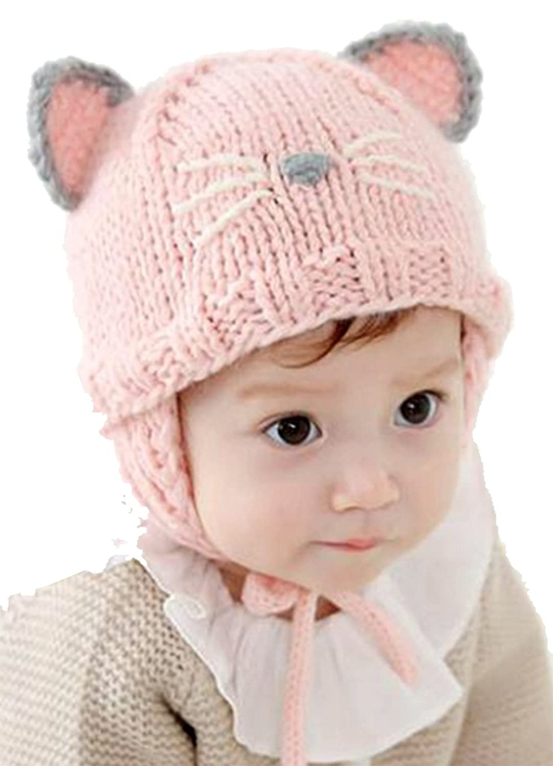 60473a64 ZEHAT New Cat Ear Knit Wool Crochet Cap Cute Winter Baby Kids Girls Boys  Warm Hats (Pink/Black)