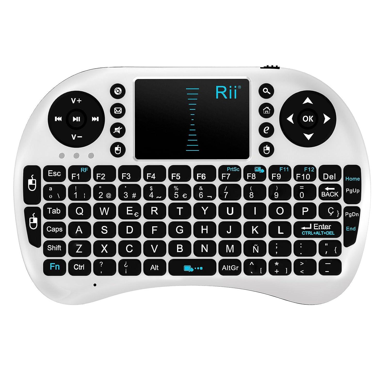 Rii Mini i8 Wireless (layout Español) - Mini teclado ergonómico con ratón touchpad para Smart TV, Mini PC Android, PlayStation,...