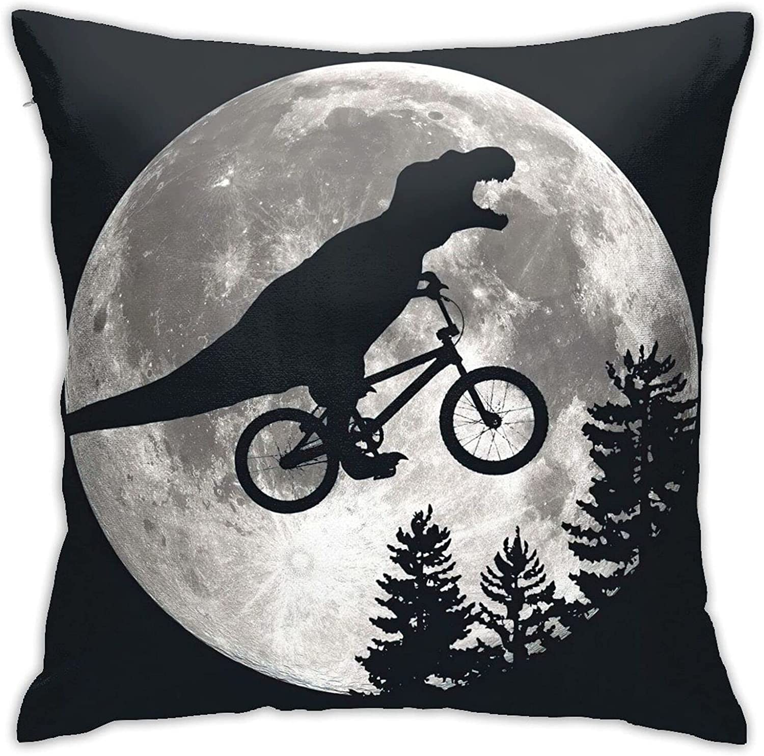 WAZHIJIA Dinosaur Riding Bicycle Decorative Throw Pillowcase Moon Animal Pillow Case Cushion Cover Square Pillow Covers for Car Sofa Home Decor 18 X 18 Inch