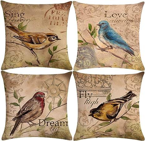 Brown and Teal Bird Pillowcase