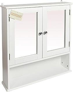 woodluv armadietto a specchio per bagno bianco