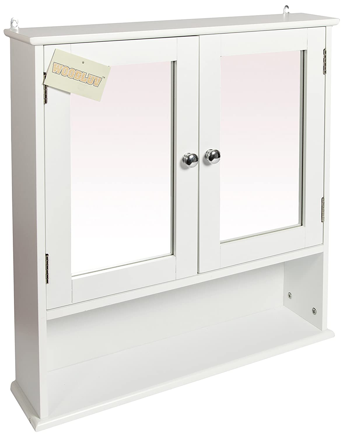 woodluv Wall Mounted Mirror Cabinet Bathroom Storage Furniture, White Elitehousewares E5-1052