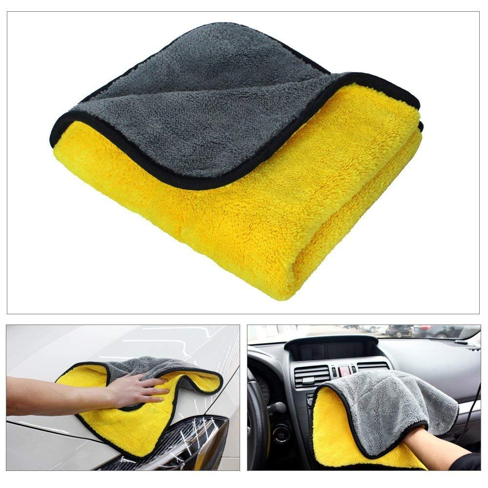 Car Microfiber Towel Car Wash Towel Car Clean Dry Towel Ultra Thick Super Absorbent Double Layers Professional Grade Premium Car Polishing Waxing Cleaning Detailing Cloth 840gsm 12 x 16inch-yellow/gre by Winpromise