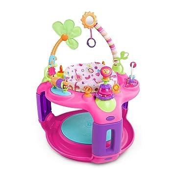 55746f5f5419 Amazon.com   Bright Starts Pink Sweet Safari Exersaucer Entertain ...