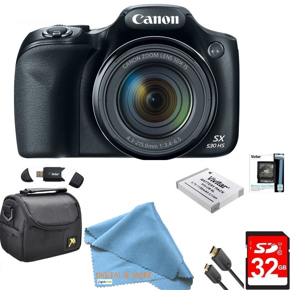 Canon Powershot SX530 HS 16MP Wi-Fi Super-Zoom Digital Camera 50x Optical Zoom Ultimate Bundle Includes Deluxe Camera Bag, 32GB Memory Cards, Extra Battery, Tripod, Card Reader, HDMI Cable & More by DIGITALANDMORE