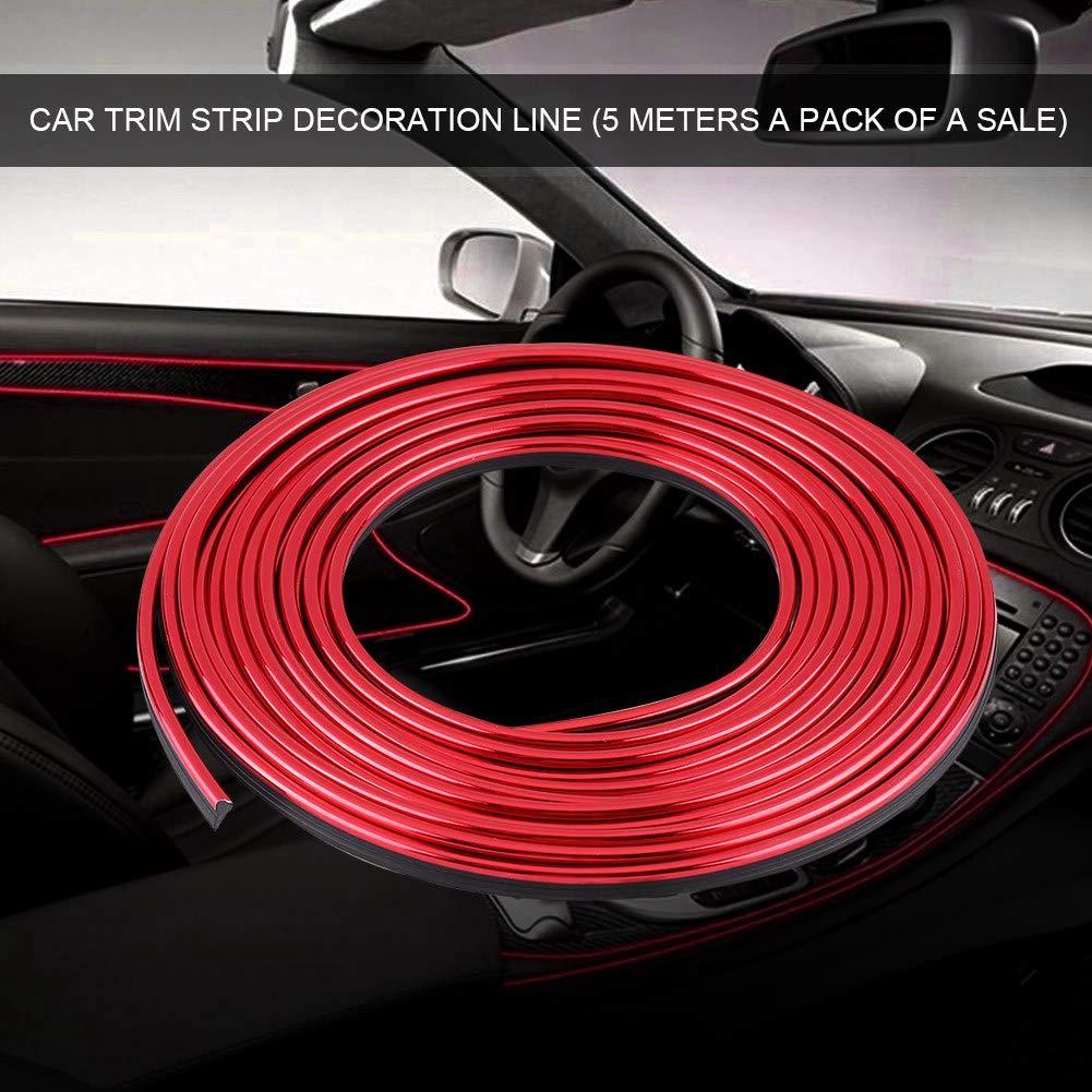 Red Car Interior Trim Strip Exterior Moulding Strip Decorative Line Flexible Car Interior Decoration Moulding Trim Strips 5M
