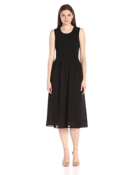 Lark & Ro Women's Sleeveless Smocked-Top Midi Dress, Black, Medium