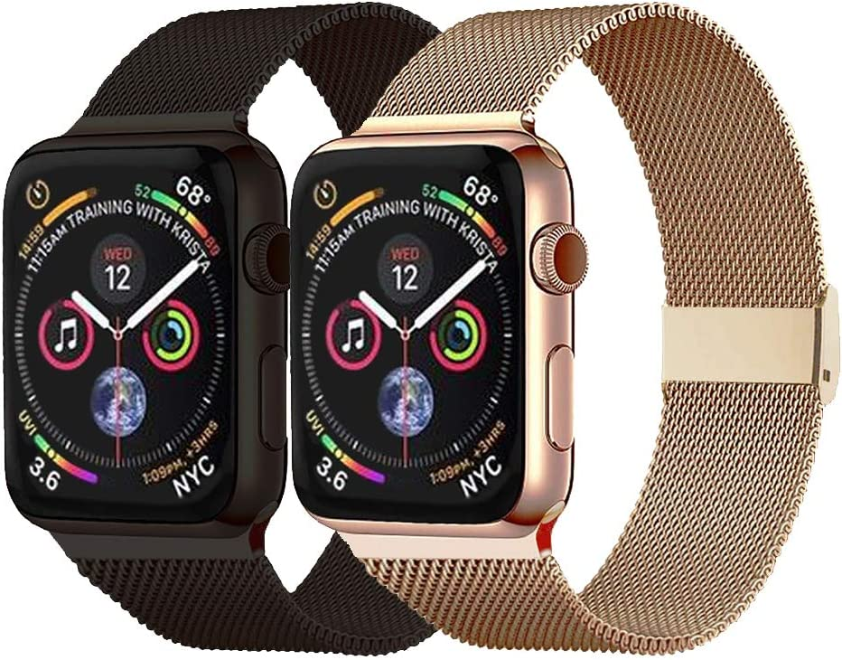 Pigetfy 2 Pack Compatible for Apple Watch Band 40mm 44mm Series 6,Series 5,Series 4,Series 3,Series 2,Series 1,Series SE and Wristband for Iwatch 38mm 42mm (Gold+Black, 38mm/40mm)
