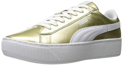 Puma Women's Vikky Platform Metallic Fashion Sneaker, Silver Black, 8 M US