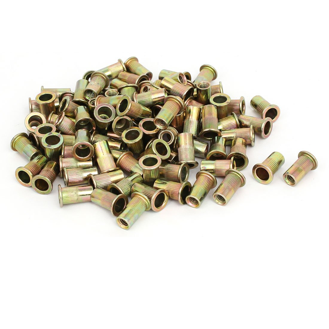 uxcell M6x18mm Metal Zinc Plated Straight Knurled Rivet Nut Insert Bronze Tone 130pcs