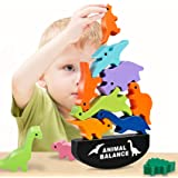 HahaGift Cute Dinosaur Stacking Toys for Kids, Quality Wooden Blocks for Concentration and Motor Skills Training - Best Holid