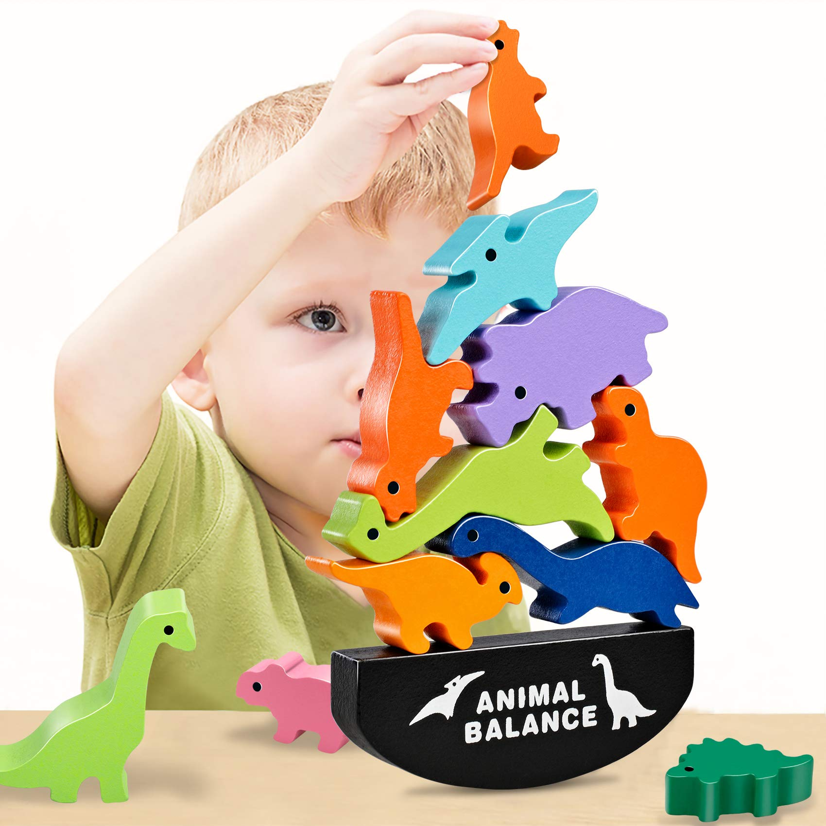 HahaGift Cute Dinosaur Stacking Toys for Kids Quality Wooden Blocks for Concentration