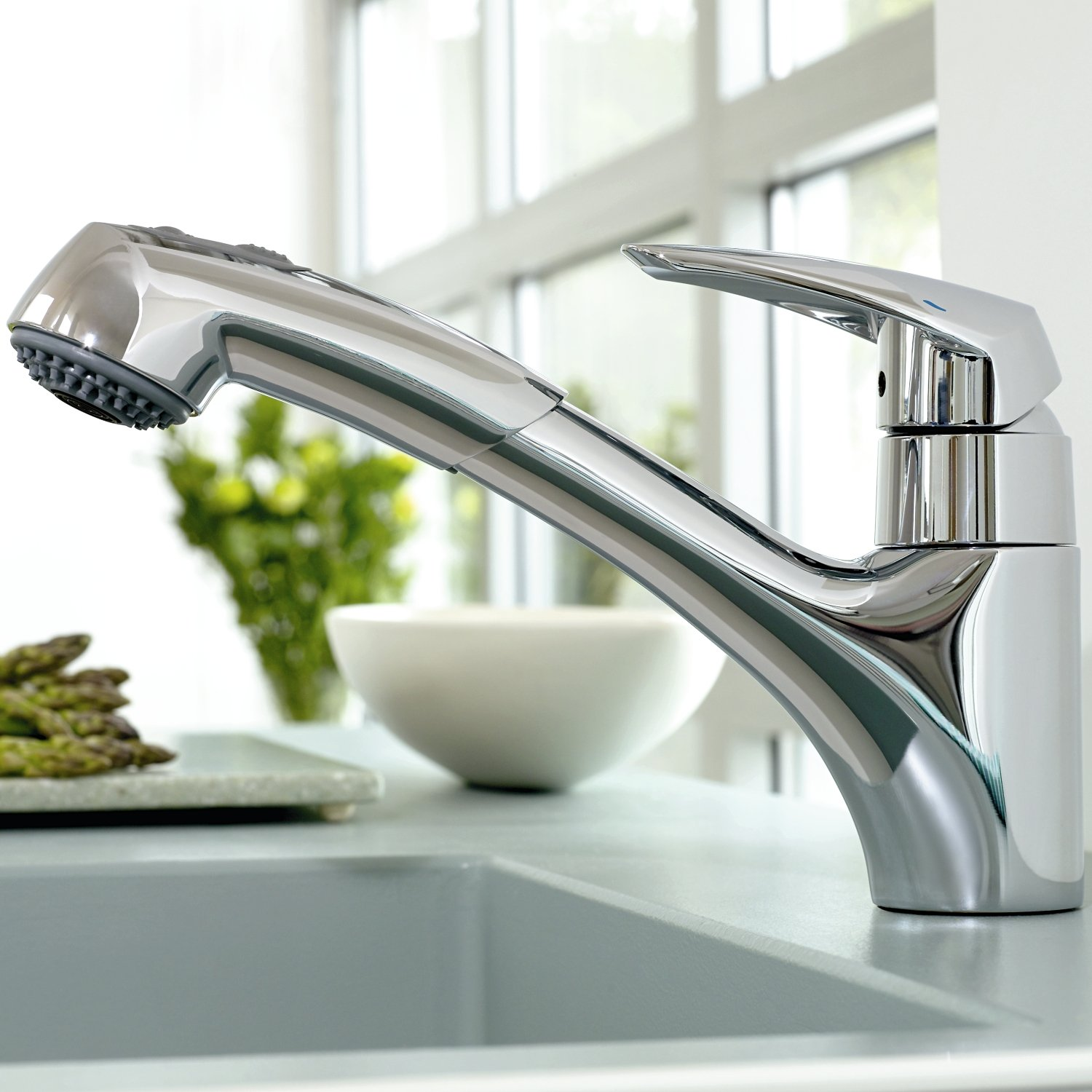 Eurodisc Single Handle Pull Out Kitchen Faucet   Touch On Kitchen Sink  Faucets   Amazon.com