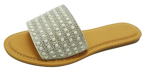 9cb7b8e53dc Cambridge Select Women s Open Toe Crystal Rhinestone Faux Pearl Slip-On Flat  Slide Sandal (