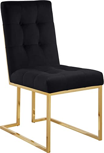 Meridian Furniture Pierre Collection 714Black-C Modern Contemporary Black Velvet Dining Chair with Luxurious Deep Tufting and Polished Gold Metal Frame, Set of 2, 18.5 W x 25 D x 36.5 H